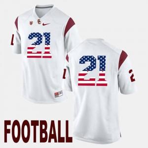 White Adoree' Jackson USC Jersey For Men's #21 US Flag Fashion 342577-156