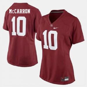 College Football #10 Red A.J. McCarron Alabama Jersey Women's 363426-895