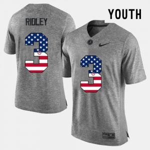 Gray Calvin Ridley Alabama Jersey For Kids #3 US Flag Fashion 155713-677