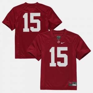 Crimson College Football #15 Youth Alabama Jersey 111446-487