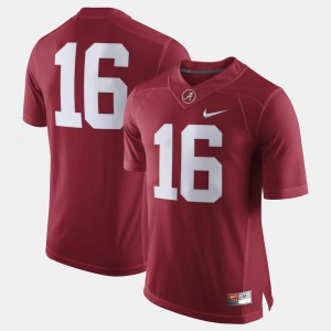 For Men #16 Crimson Alabama Jersey College Football 635274-230