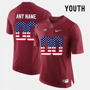 #00 Alabama Custom Jersey Crimson For Kids US Flag Fashion 306244-324