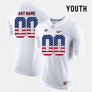 Kids #00 Alabama Custom Jerseys White US Flag Fashion 776770-404