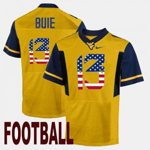 #13 Men US Flag Fashion Andrew Buie WVU Jersey Gold 315202-659