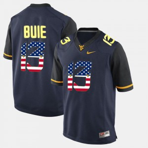 Men #13 Andrew Buie WVU Jersey US Flag Fashion Navy Blue 658554-899