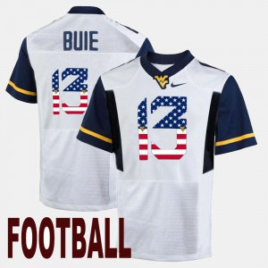For Men US Flag Fashion #13 Andrew Buie WVU Jersey White 397625-796