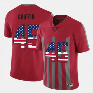 Mens #45 Archie Griffin OSU Jersey Scarlet US Flag Fashion 924850-391