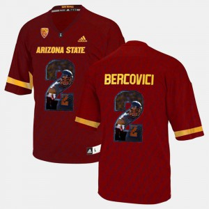 Men Mike Bercovici ASU Jersey #2 Player Pictorial Red 409819-215