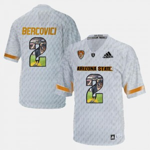 For Men's #2 Mike Bercovici ASU Jersey Player Pictorial White 258402-500