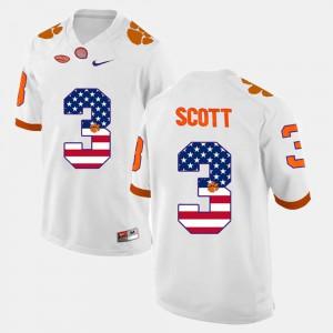 #3 White US Flag Fashion Artavis Scott Clemson Jersey For Men 819275-383