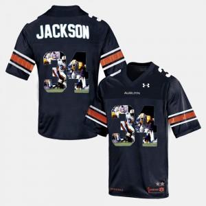 Men Throwback #34 Bo Jackson Auburn Jersey Navy Blue 621535-990