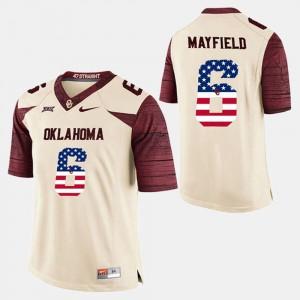 Men White #6 Baker Mayfield OU Jersey US Flag Fashion 276104-219