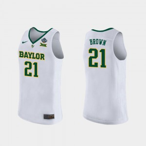 Kalani Brown Baylor Jersey For Women's #21 White 2019 NCAA Women's Basketball Champions 545904-431