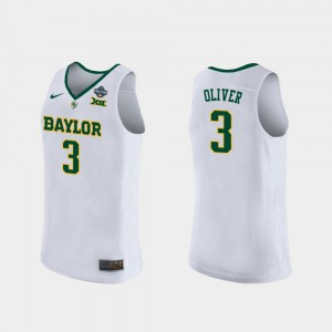 Womens 2019 NCAA Women's Basketball Champions #3 Trinity Oliver Baylor Jersey White 436890-136