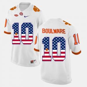 #10 Men White Ben Boulware Clemson Jersey US Flag Fashion 276988-218