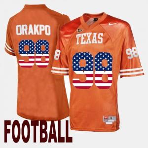 Orange #98 For Men's Brian Orakpo Texas Jersey US Flag Fashion 882497-375