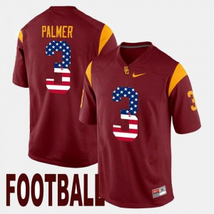 For Men Carson Palmer USC Jersey US Flag Fashion #3 Maroon 942775-143