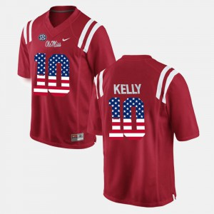 Red US Flag Fashion Chad Kelly Ole Miss Jersey For Men's #10 602154-374