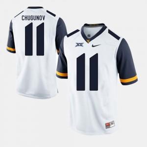 Chris Chugunov WVU Jersey #11 White Alumni Football Game Mens 325427-552