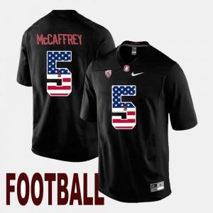 #5 US Flag Fashion For Men Black Christian McCaffrey Stanford Jersey 845126-708