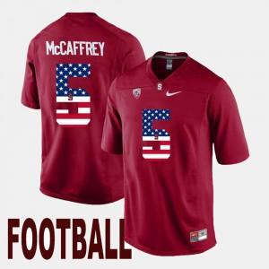 Christian McCaffrey Stanford Jersey US Flag Fashion #5 Cardinal For Men 766831-390