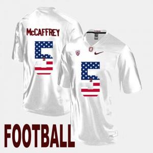 US Flag Fashion Christian McCaffrey Stanford Jersey White #5 Men 232812-783