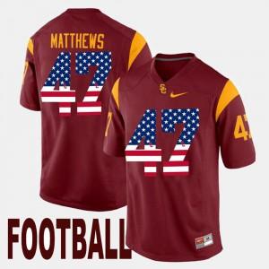 #47 Men Maroon Clay Matthews USC Jersey US Flag Fashion 310361-471