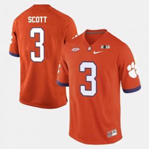 Orange Men College Football #3 Artavis Scott Clemson Jersey 130080-354