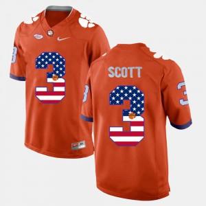 Orange #3 Artavis Scott Clemson Jersey US Flag Fashion Mens 237020-715