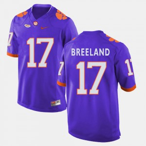 #17 College Football Purple For Men Bashaud Breeland Clemson Jersey 369433-308