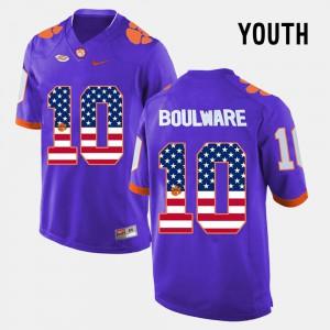 Kids #10 US Flag Fashion Ben Boulware Clemson Jersey Purple 197350-119