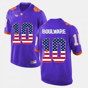 Purple For Men's US Flag Fashion Ben Boulware Clemson Jersey #10 897493-833