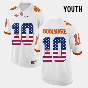 White US Flag Fashion Kids Ben Boulware Clemson Jersey #10 921550-269