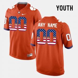 US Flag Fashion Orange Kids Clemson Custom Jersey #00 758818-113