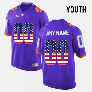 Clemson Custom Jersey Purple US Flag Fashion #00 Youth(Kids) 215535-460