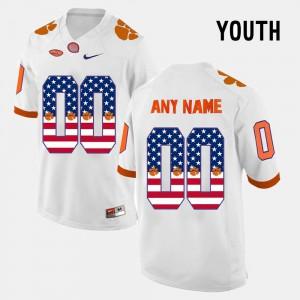 #00 US Flag Fashion White Youth Clemson Custom Jersey 909653-193