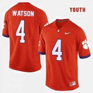 College Football For Kids #4 Deshaun Watson Clemson Jersey Orange 970717-786