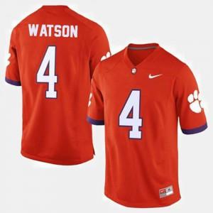Men #4 Orange Deshaun Watson Clemson Jersey College Football 748902-432