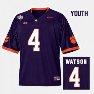 Purple #4 Kids College Football Deshaun Watson Clemson Jersey 797883-819