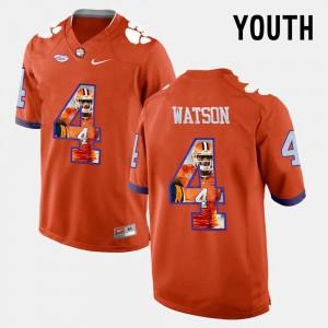 DeShaun Watson Clemson Jersey Youth(Kids) #4 Orange Pictorial Fashion 713543-750