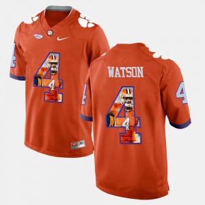 Orange #4 DeShaun Watson Clemson Jersey For Men's Pictorial Fashion 722697-854