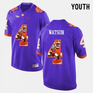 Purple Pictorial Fashion #4 For Kids DeShaun Watson Clemson Jersey 257763-464