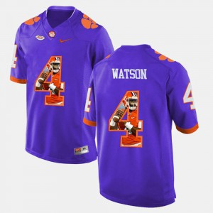 #4 For Men's Pictorial Fashion DeShaun Watson Clemson Jersey Purple 739414-765