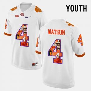 #4 Youth White Pictorial Fashion DeShaun Watson Clemson Jersey 725281-924