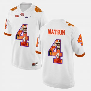 For Men #4 DeShaun Watson Clemson Jersey Pictorial Fashion White 908189-776