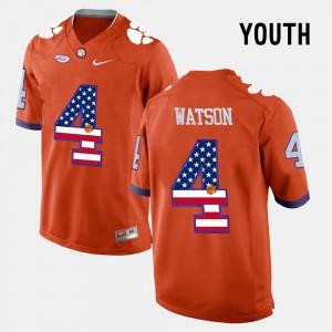 US Flag Fashion Orange #4 Youth(Kids) DeShaun Watson Clemson Jersey 703181-756
