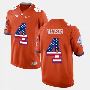 For Men's Orange US Flag Fashion #4 DeShaun Watson Clemson Jersey 317345-337