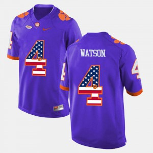 DeShaun Watson Clemson Jersey #4 Purple US Flag Fashion Men's 264418-237