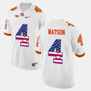 Men's DeShaun Watson Clemson Jersey US Flag Fashion #4 White 211812-885