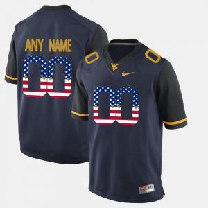 WVU Customized Jerseys #00 Blue US Flag Fashion Mens 177160-711
